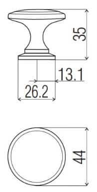 Buton mobila K731 44x35 mm, cupru [1]