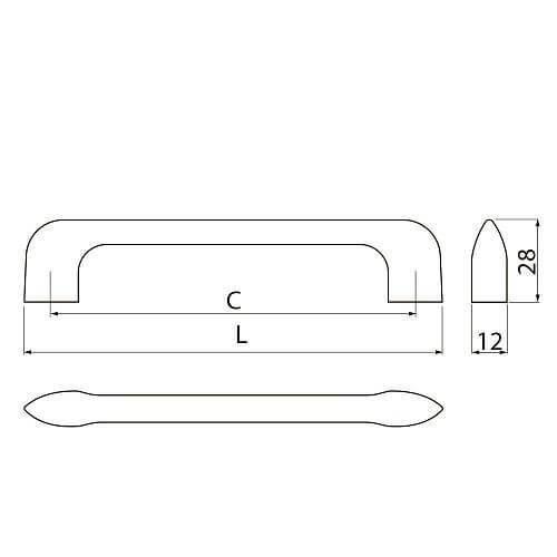 Buton mobila MILAN 55x28 mm, negru mat [3]