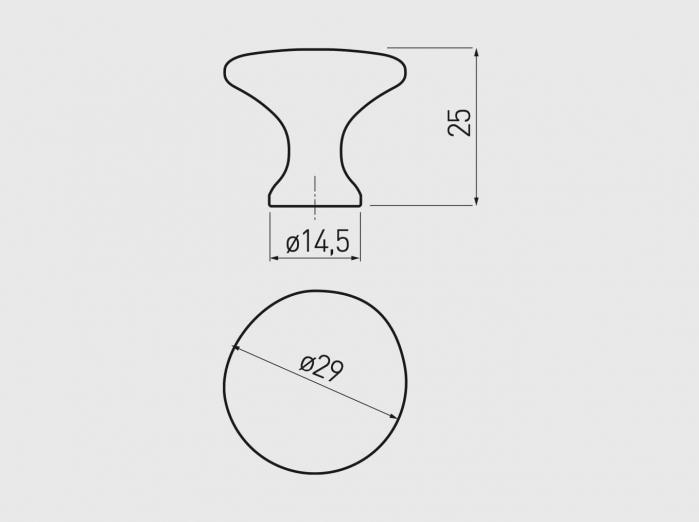 Buton mobila UDINE 29x25 mm, negru mat [2]