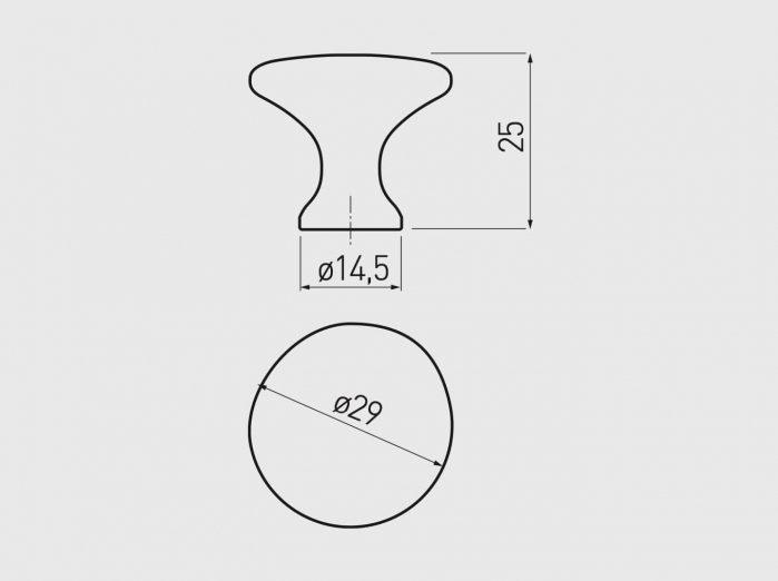 Buton mobila UDINE 29x25 mm, otel periat [2]