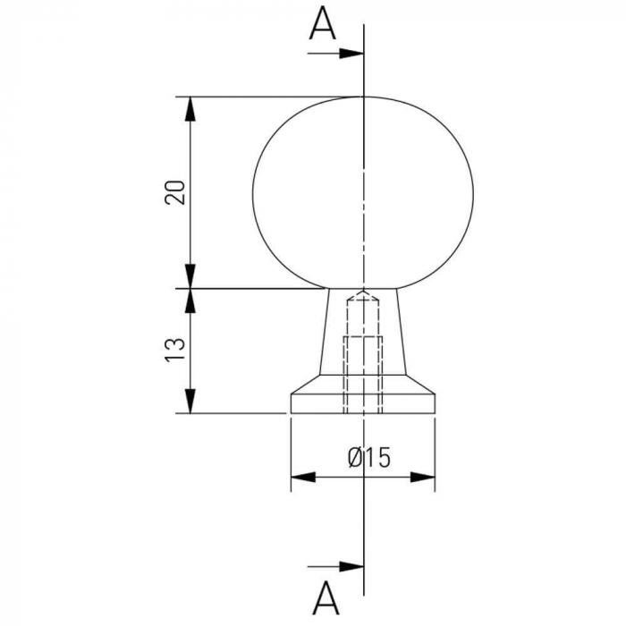 Buton mobila NORD 20x33 mm, negru mat 2