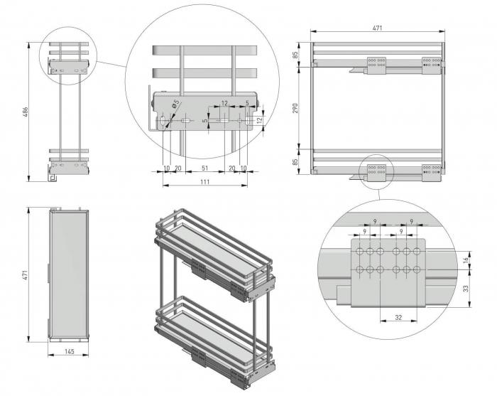 Cos Jolly MOVIXPRO cromat pentru corp mobilier de 200 mm, glisiera laterala cu amortizare [3]