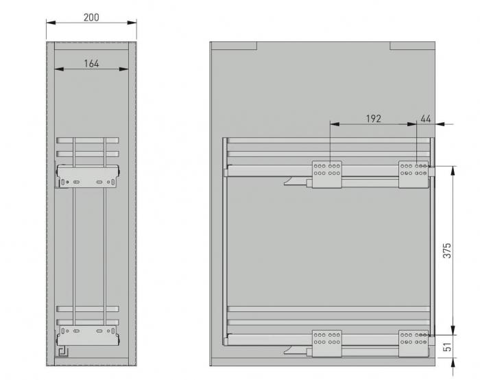 Cos Jolly MOVIXPRO cromat pentru corp mobilier de 200 mm, glisiera laterala cu amortizare [2]