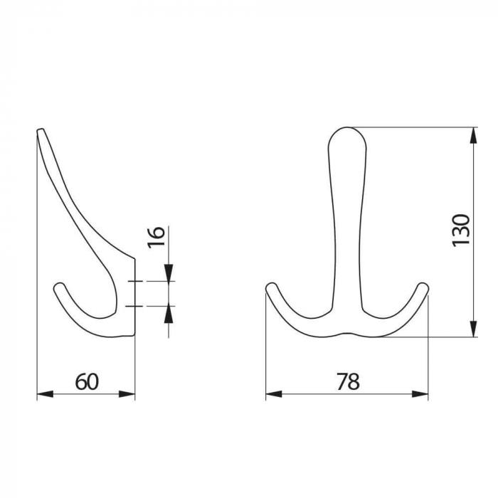 Agatatoare cuier CORDOBA 78x130 mm, 3 agatatori, negru mat [3]