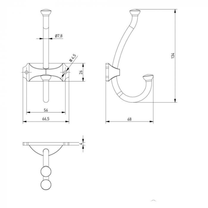 Agatatoare cuier CRAFT 134x66 mm, 2 agatatori, argintiu antichizat 2
