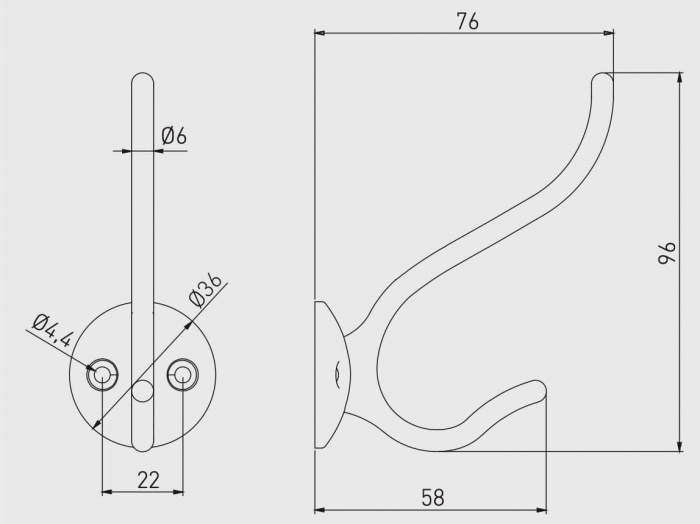 Agatatoare cuier GRANADA 96x36 mm, 2 agatatori, satinat [1]