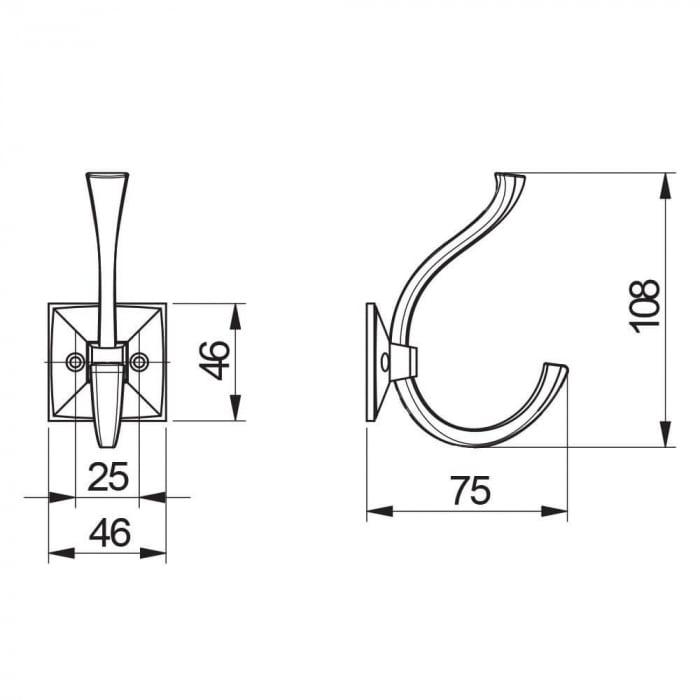 Agatatoare cuier MADRYT 108x46 mm, 2 agatatori, alama antichizata 2