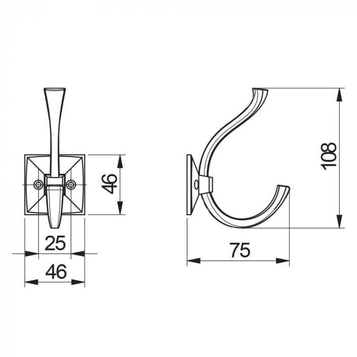 Agatatoare cuier MADRYT 108x46 mm, 2 agatatori, argintiu antichizat [2]