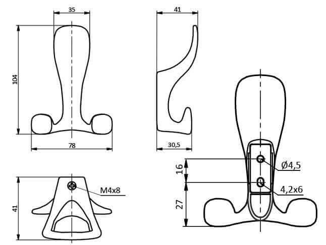 Agatatoare cuier TOLEDO A0 78x104 mm, 3 agatatori, aluminiu [1]