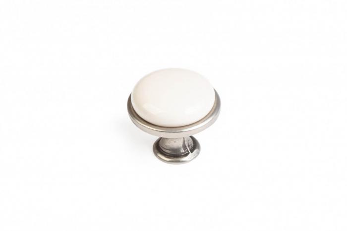 Buton mobila MILKY 29x24 mm, portelan, argintiu antichizat [0]