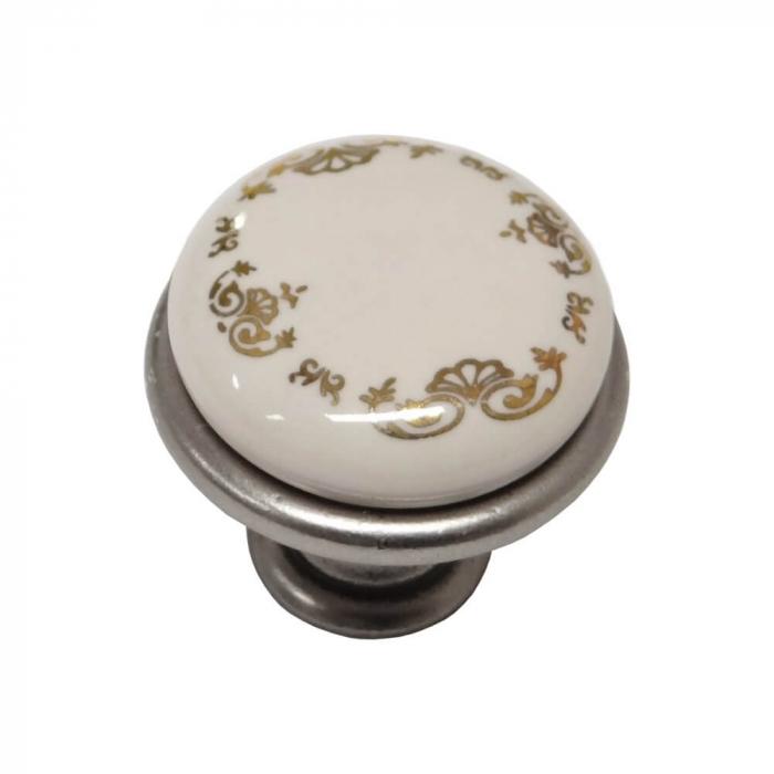 Buton mobila ORNAMENT 29x24 mm, portelan, argintiu antichizat [1]