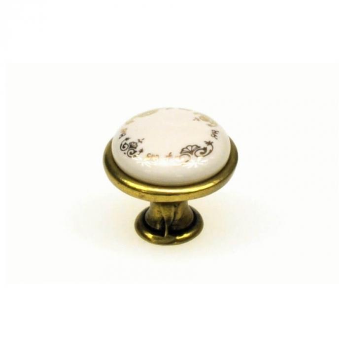 Buton mobila ORNAMENT 29x24 mm, portelan, alama antichizata [0]