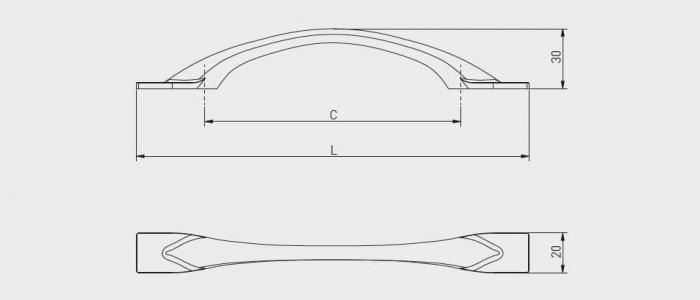 Maner mobila FLOW 128 mm, auriu [3]