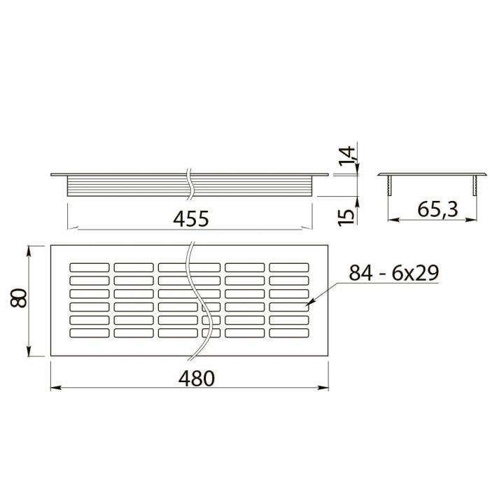 Grila ventilatie aluminiu, 480x80 mm, negru mat 1