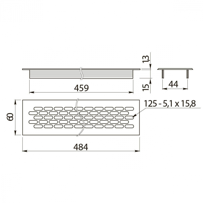 Grila ventilatie aluminiu, 484x60 mm, negru mat 1