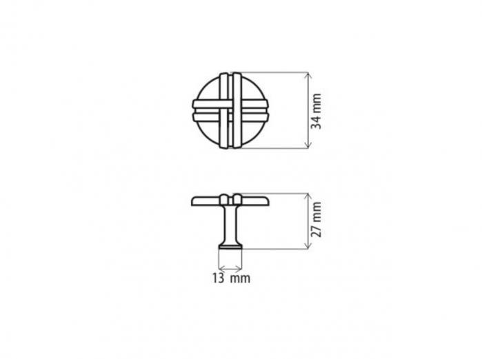 Buton mobila K100 34x27 mm, alama antichizata [1]