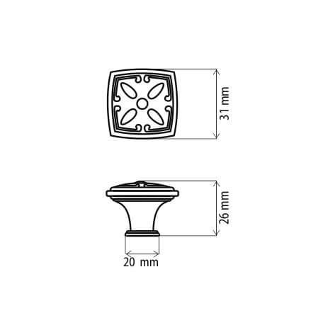 Buton mobila KR52 31x26 mm, alama antichizata [1]