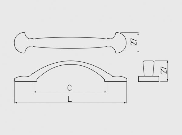 Maner mobila ACERA 96 mm, alama antichizata 2