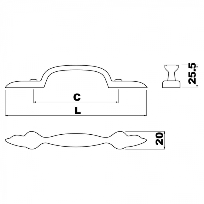 Maner mobila AREZO 96 mm, alama antichizata 1