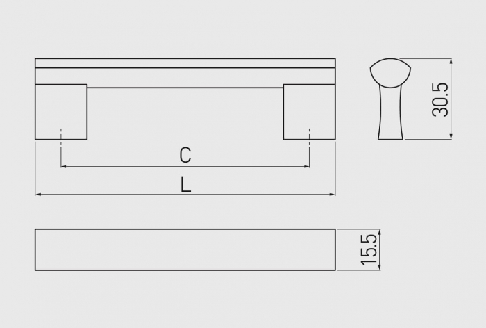 Maner mobila B311 160 mm, negru mat [1]