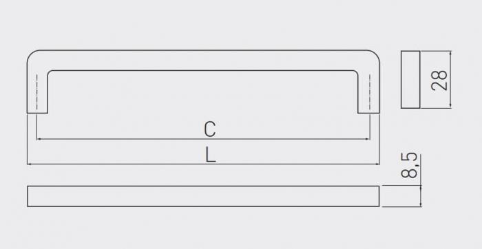 Maner mobila BAGIO 128 mm, aluminiu [1]