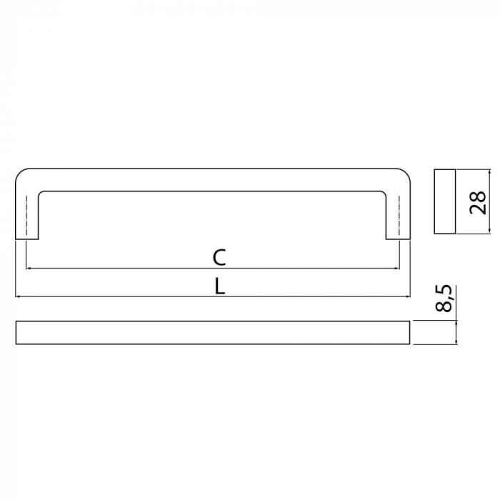 Maner mobila BAGIO 128 mm, cromat [1]