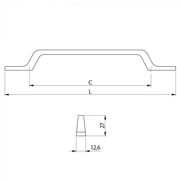 Maner mobila FLAVIO 160 mm, negru mat 2