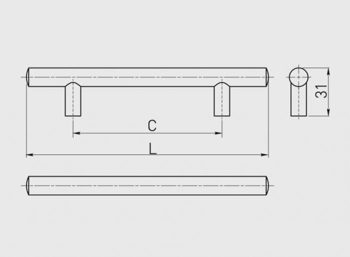 Maner mobila 160 mm, cupru antic, bara plina [3]