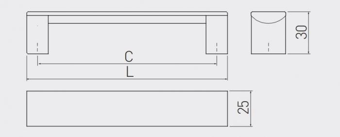 Maner mobila ARES 256 mm, negru mat [2]