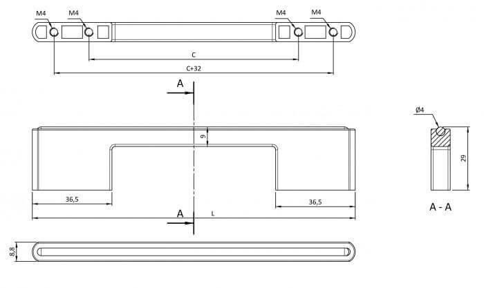 Maner mobila ASTI 128 mm, cromat [2]
