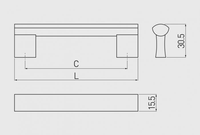Maner mobila B311 256 mm, negru mat [1]