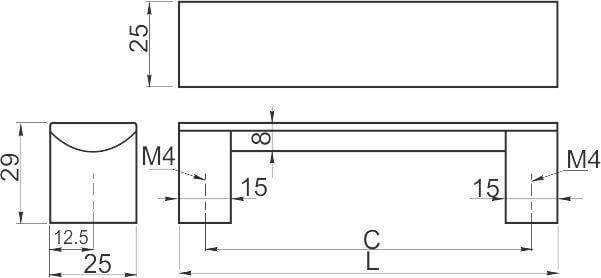 Maner mobila B337 480 mm, cromat [2]