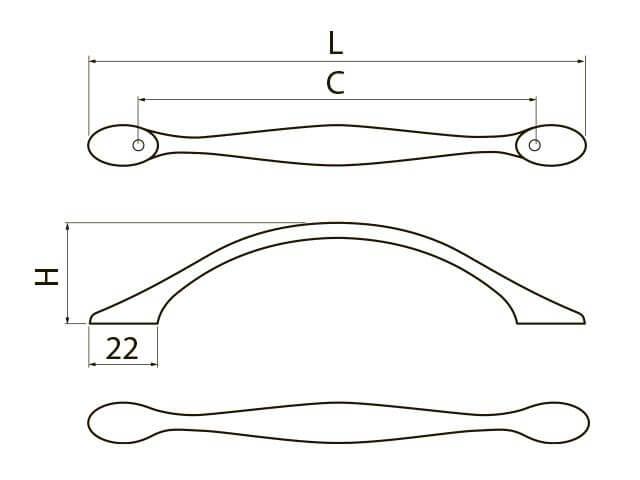 Maner mobila Camaio 96 mm, negru crom 2