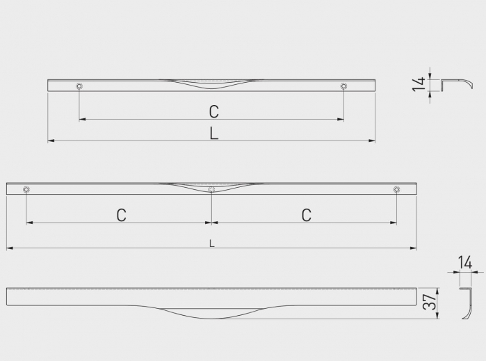 Maner mobila PICADO 296 mm, aluminiu [1]