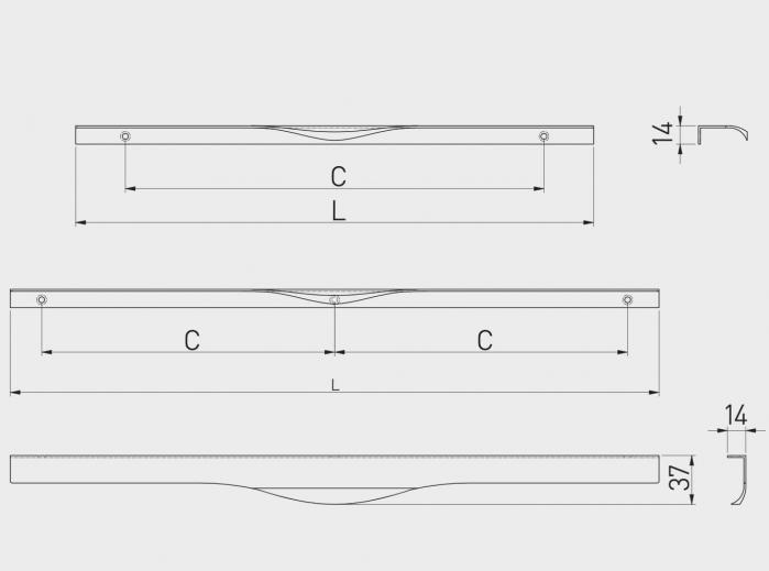 Maner mobila PICADO 496 mm, negru mat [3]