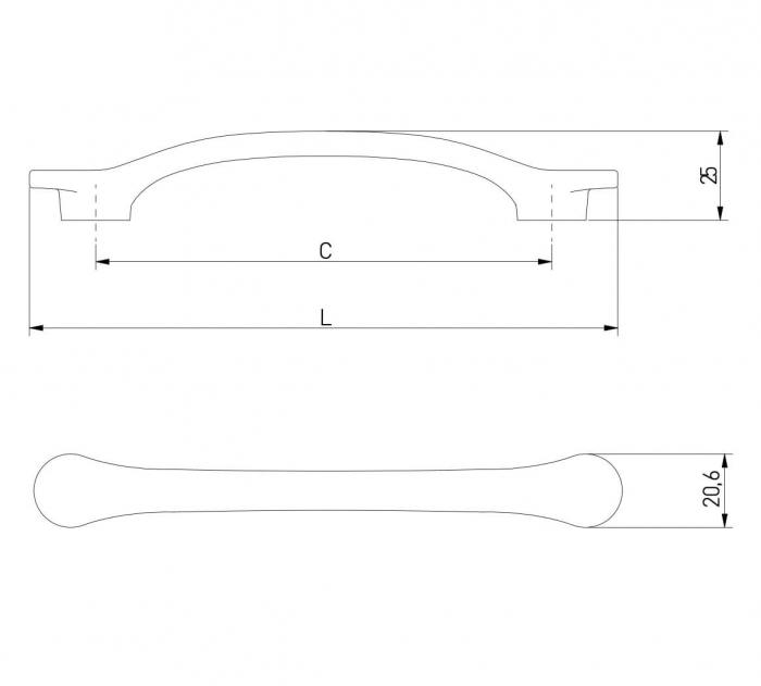 Maner mobila VENICE 128 mm, negru mat [2]