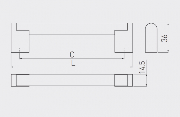 Maner mobilier UZ-336, otel periat, 480 mm 2