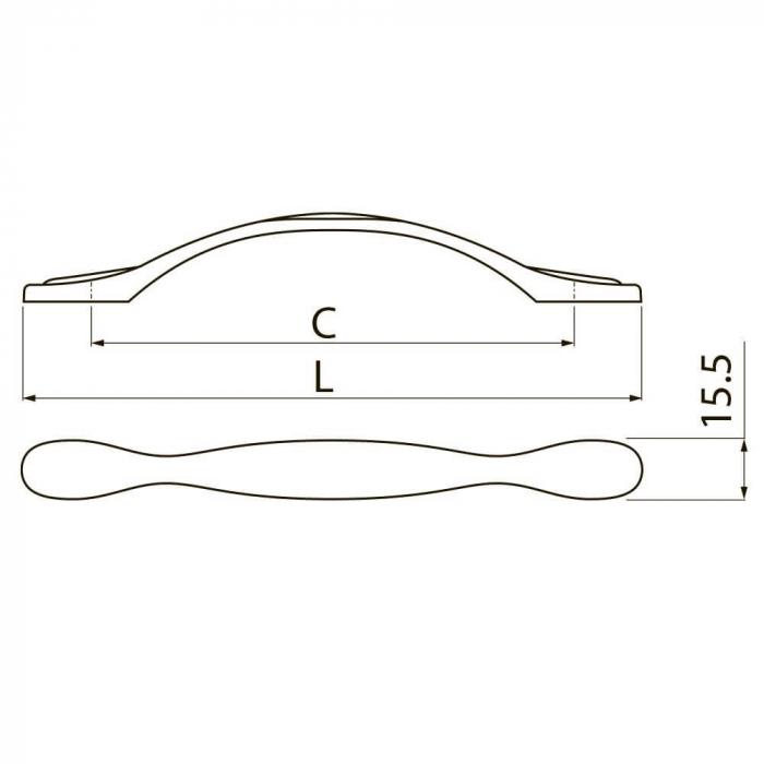 Maner mobila ROYAL PIANO 96 mm, alb auriu [2]