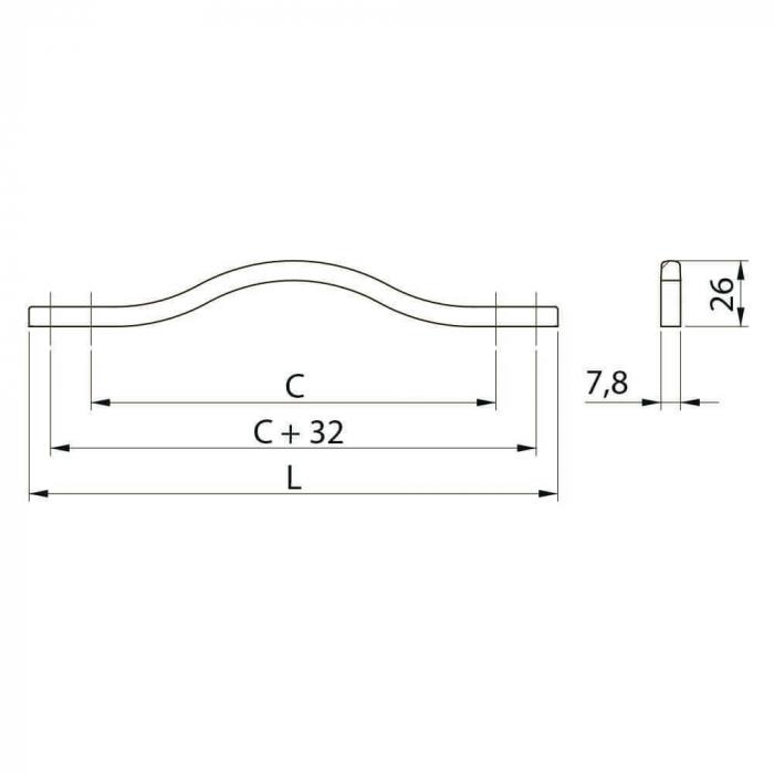 Maner mobila VITO 288 mm, alama [1]