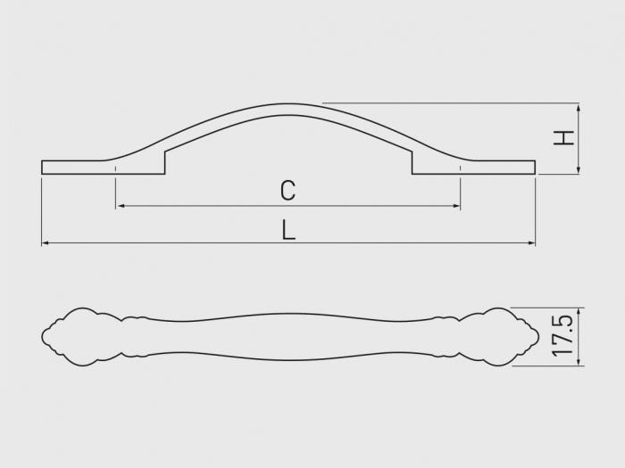 Maner mobila WERONA 128 mm, negru auriu [1]