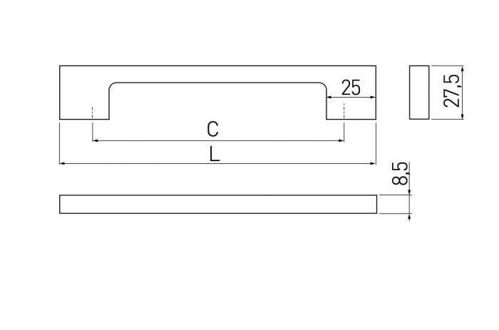 Maner mobila Zamak 192 mm, alb mat 1