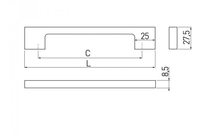 Maner mobila ZAMAK 160 mm, otel periat [2]