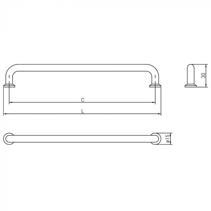 Maner mobila NORD 192 mm, negru mat 4