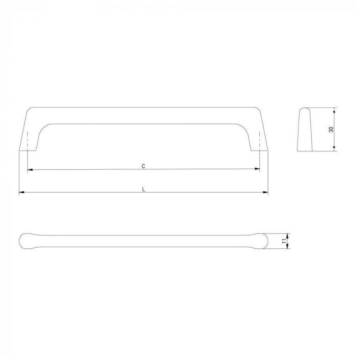 Maner mobila OCTAVIO 160 mm, otel periat [3]