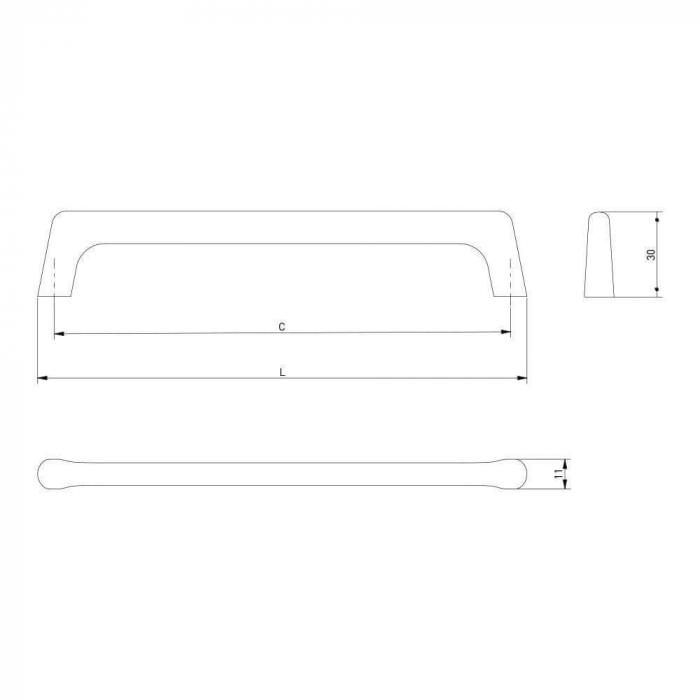 Maner mobila OCTAVIO 160 mm, negru mat [3]