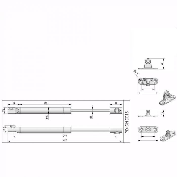 Piston (telescop) NEO cu gaz pentru ridicare usi mobila 100N, antracit 3