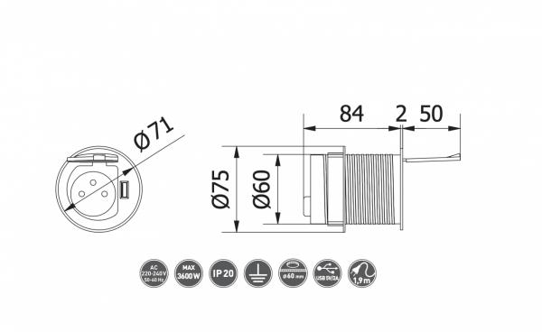 Priza incastrabila in blat 1XSCHUCKO + 1XUSB 5V 2.4A, cu cablu 1.9m si stecher, argintie 1