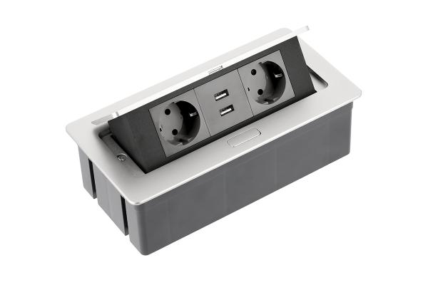 Priza incorporabila in blat 2xSchuko, 2 USB, Cablu inclus, Aluminiu [0]