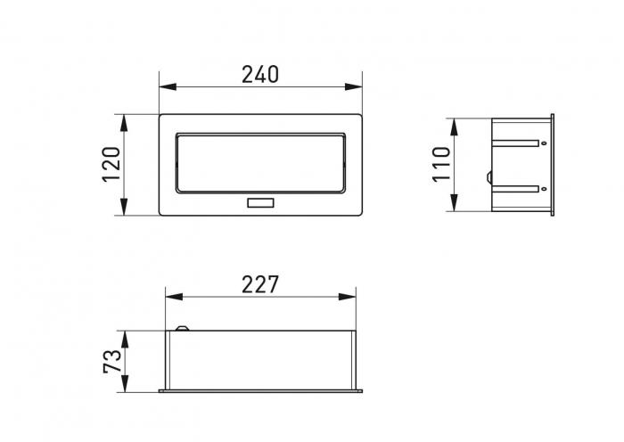 Priza incorporabila in blat 2xSchuko, 2xUSB, cablu inclus, alb mat [1]