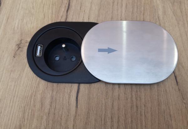 Priza SLIDE incorporabila in blat 1xSCHUKO, 1xUSB 5V 2.4 A, cablu inclus, inox, 60 mm 5